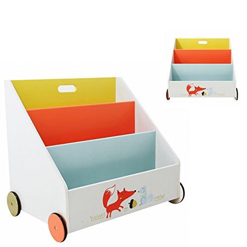 Labebe - Kinder Holz Bücherregal Spielzeugregale mit Rollen - 3 Fächer / 600x430x550 mm (weiß Fuchs)