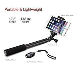 Accmor Rhythm Pro Bluetooth Selfie Stick Monopod with Tripod Stand for iPhone 6 Plus 6 5S Android Samsung Galaxy S6 S5 Note 4 3 and GoPro Hero Camera