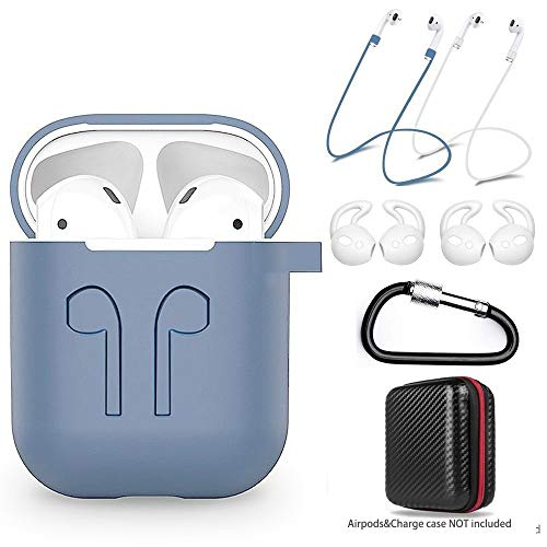 (amasing Case 7 in 1 Accessories Kits Protective Silicone Cover and Skin for Charging Case with Ear Hook Grips/Airpods Staps/Airpods Clips/Skin/Tips/Grips)