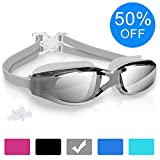 10. arteesol Swimming Goggles, Anti Fog Swim Goggles Crystal Clear 180° Panoramic Vision Mirrored with 100% UV Protective Coating with Protective Case and Earplug for Adults and Kids (Gray)