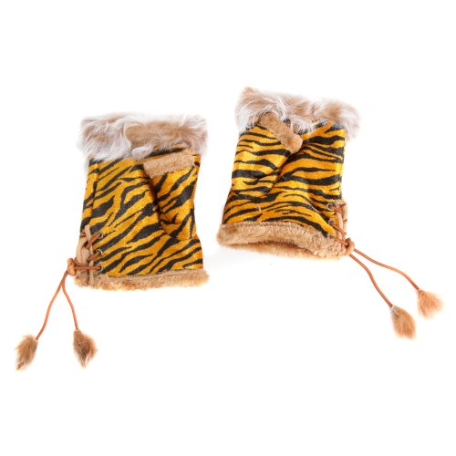 Tiger Print Gloves - Accessoryo Women's Tiger Print Design Fingerless Fashion Gloves with Faux Fur Tassels One Size Orange