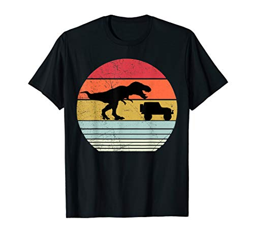 T-rex chasing jeep retro Vintage T shirt for dinosaur lovers