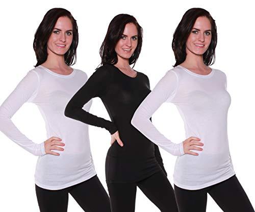 (Active Basic Women's Long Sleeve Crew Neck T Shirt(2 Wht/1 Blk-S))
