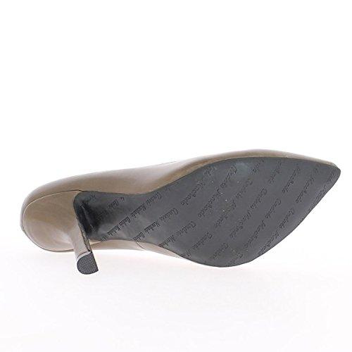 Escarpins femme grande taille taupe à talon de 12cm bouts pointus
