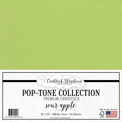 Sour Apple Green Cardstock Paper - 12 x 12 inch 100 lb. Heavyweight Cover - 25 Sheets from Cardstock Warehouse (Green Apple Sheets)