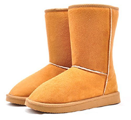 Aisun Womens Simple Warm Comfy Flat Mid Calf Snow Boots Camel