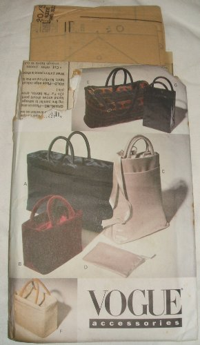 Vogue 9020 Sewing Pattern Accessories Bags Purses Totes