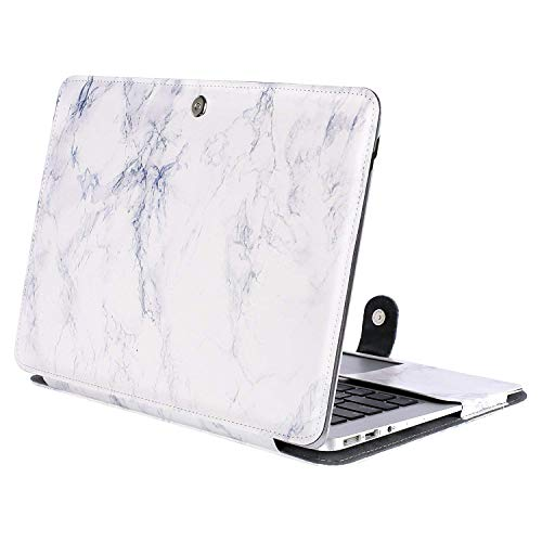 MOSISO PU Leather Case Only Compatible MacBook Air 13 Inch A1466/A1369 (Older Version Release 2010-2017), Premium Quality Book Folio Protective Stand Cover Sleeve, White Marble