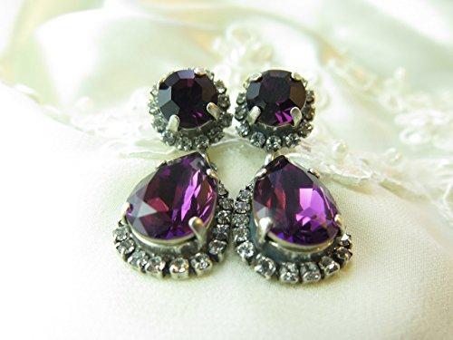 - Amethyst, Swarovski Elements, Rhinestone Jewelry, Oxidized Silver, Chandelier, Statement Earrings, special occasion