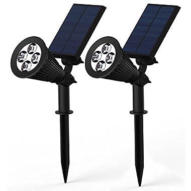 Lemontec 2-in-1 Adjustable 4 LED Wall / Landscape Solar Lights with Automatic On/Off Sensor, 2 Pack