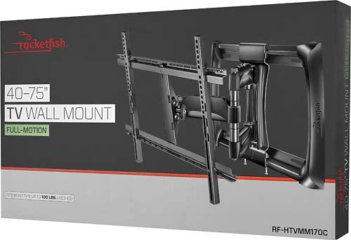 Rocketfish – Full-Motion TV Wall Mount for Most 40 – 75 TVs RF-HTVMM170C Black – New, Non-Retail Packaging