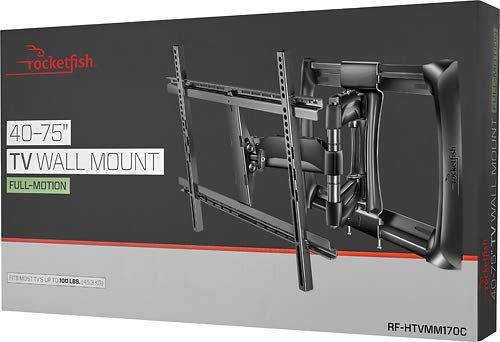"Rocketfish - Full-Motion TV Wall Mount for Most 40"" - 75"" TVs (RF-HTVMM170C) Black - New, Non-Retail Packaging"