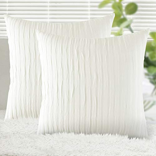 Yeadous Off White Throw Pillow Covers Case, 2 Pack Line Striped 100% Cotton Cushion Cover, Soft Decorative Pillow Shams Covers for Sofa Couch Bed Home Decor(20x20 Inches, Off White) (Pillows Throw White Off)