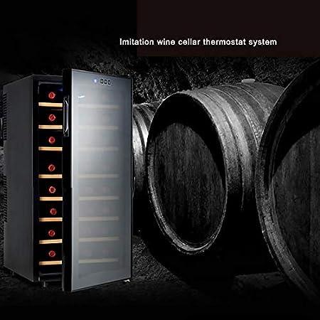 Enfriador vino Refrigerador 32 botellas Sistema temperatura constante para bodega imitación Evite la luz y el aislamiento térmico Bodega empotrada o independiente sin niebla funcionamiento silencios
