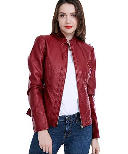 Fasbric Women Faux Leather Wind & Water Proof Biker Jacket Coat Zipper (Red Jacket Leather Women)