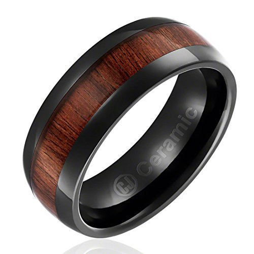 - 8MM Comfort Fit Jewelry Grade Black Ceramic Wedding Band | Black Engagement Ring with Dark Wood Inlay | Domed Top [Size 9]