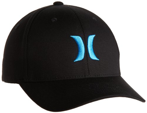 Hurley Men's One And Only Black Flexfit Hat, Blue, Large/X-Large ()