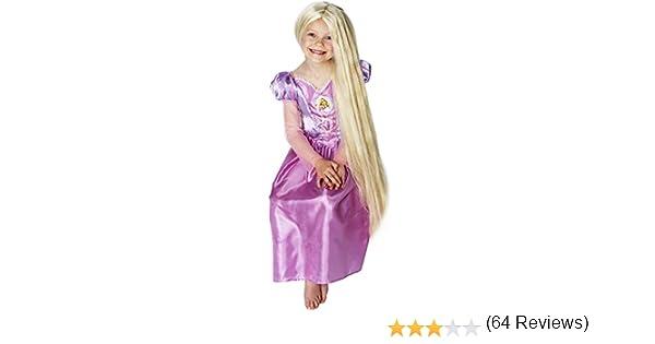 Princesas Disney - Peluca de Rapunzel para niña, accesorio disfraz ...