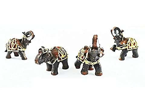 Set of 4 Feng Shui Black Thai Elephants Statues in a Presentable Wealthy Lucky Figurines Home Decor Housewarming Gift US Seller