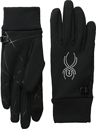 Spyder Stretch Fleece conduct-glove, Black/Silver, X-Small (Black Fleece Spyder)