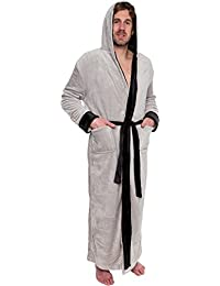 Mens Hooded Long Robe - Full Length Big & Tall Bathrobe