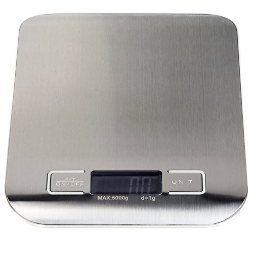 Stainless Steel Digital Kitchen Scale - LCD-Display, Battery-Operated Food Scale (lbs., g, ml, & Oz.), Accurate & Precise Measuring by Kÿchen