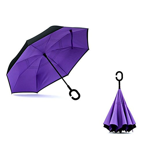 Double Layer Reverse Umbrella, Inverted Umbrella, Folding Straight Car Umbrella with C Shaped Handle and Carrying Bag Windproof Rain UV Protection (purple)