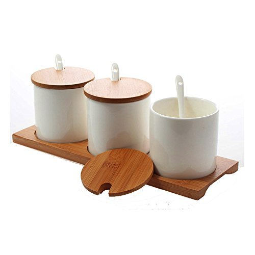 DecentGadget® Special Shape Set of 3 Ceramic Condiment Pots Spice Serving Jars Seasoning Container with Serving Spoons & Bamboo Stand (Equal Height)