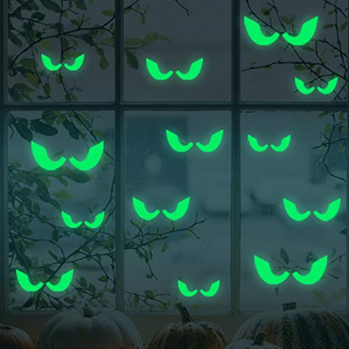 18Pcs/Set Glowing in The Dark Eyes Wall Glass Sticker Halloween Decoration Decals Luminous Home