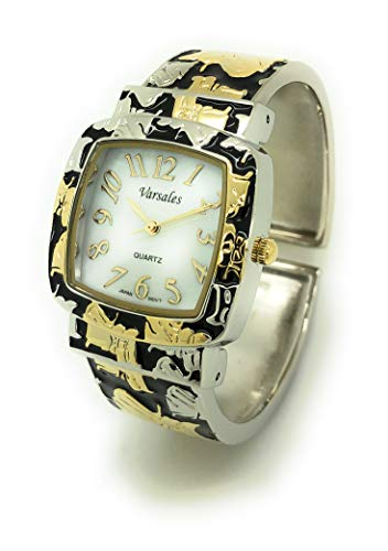 (Ladies Kitty Cat Animal Elegant Metal Bangle Cuff Fashion Watch Pearl Dial Versales (Two Tone))