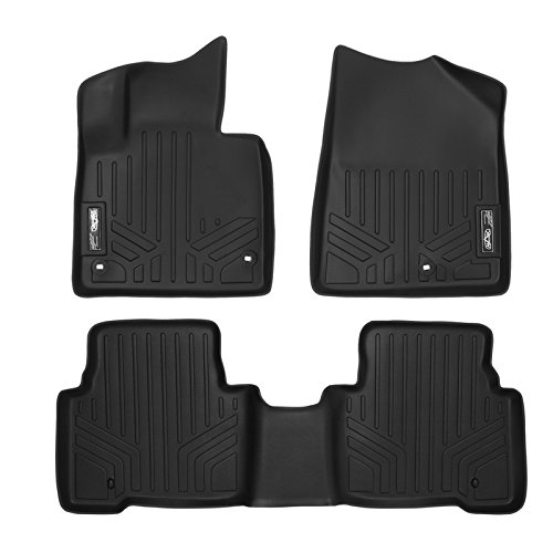 SMARTLINER Floor Mats 2 Row Liner Set Black for 2013-2018 Hyundai Santa Fe