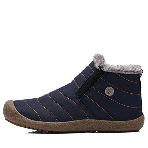 Boots Invernal Donna Caviglia Scarpe Uomo Caviglia Stivaletti Caldo MAXTOP Scarpe Blu Piatto Stivali Inverno Pelliccia Unisex Caloroso Stivaletti Sportive RCwFxBq4
