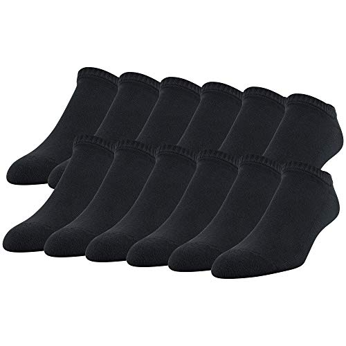Gildan Men's Stretch Cotton Half Cushion No Show Socks, 12-Pack, black, Shoe Size: 6-12