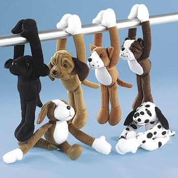 PLUSH LONG ARM DOGS WITH VELCRO PAWS (1 DOZEN) - BULK