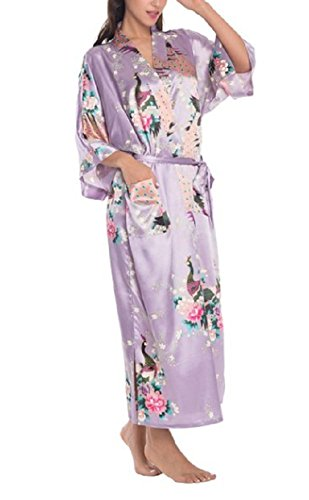- SexyTown Women's Long Floral Peacock Kimono Robe Satin Nightwear with Pockets X-Small Light Purple