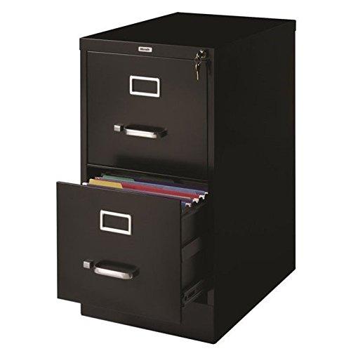"Hirsh Industries LLC 22"" Deep 2 Drawer Letter File Cabinet in Black"