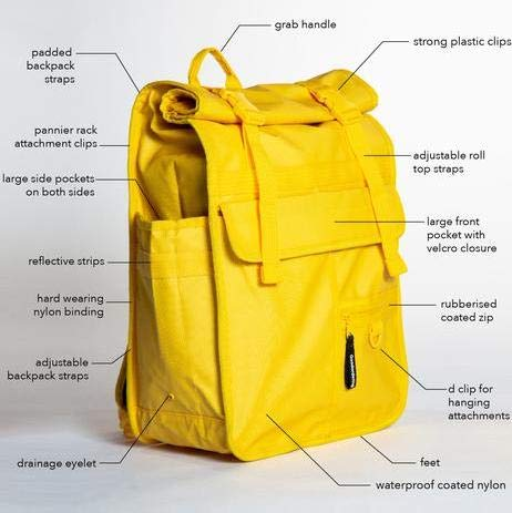 Goodordering Monochrome Rolltop Backpack Bicycle Pannier Waterproof for Cycling Yellow