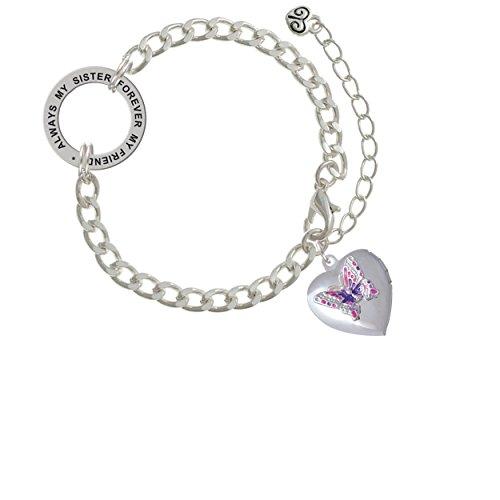 Pink & Purple Butterfly Locket Always My Sister Forever My Friend Affirmation Link Bracelet