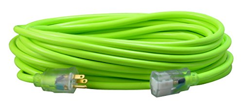 Southwire 2578SW000A 50-Foot 12/3 Neon All Purpose Extension Cord, Made in The USA, Water Resistant Vinyl Jacket, Heavy Duty Strain Relief, Extra Durable Plug, Reinforced Blades, Bright Pink