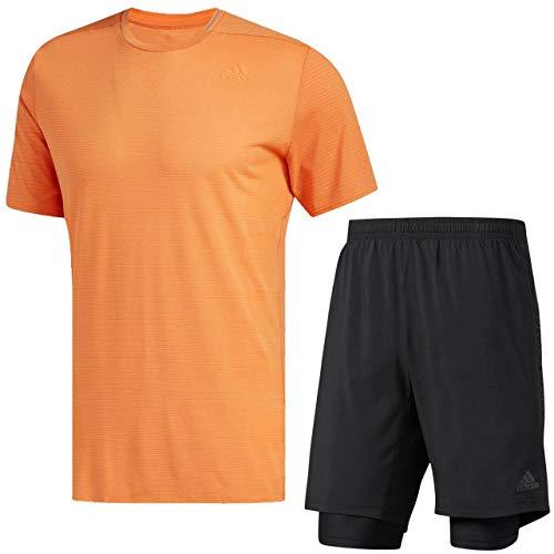 ビザ考慮観点アディダス(adidas) Snova リフレクト半袖Tシャツ&デュアルショーツ上下セット(ハイレゾオレンジ/ブラック) DKW12-CG1164-DKW17-BQ7245