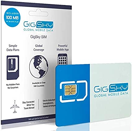 GigSky 4G LTE/3G Data SIM Card with Pay As You Go Data Plans for USA, Canada, Mexico, Europe, Asia, Middle East, and Africa for Unlocked iPhone, iPad, ...