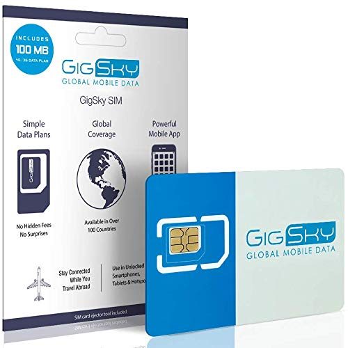 GigSky 4G LTE/3G Data SIM Card with Pay As You Go Data Plans for USA, Canada, Mexico, Europe, Asia, Middle East, and Africa for Unlocked iPhone, iPad, Android Phones, Hotspots and Tablets (Best Sim Card For Mexico)