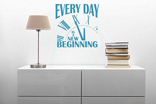 Everyday is a New Beginning Vinyl Lettering Motivational Wall Words, Bayou Blue, 23x23 by Wall Decor Plus More (Image #4)