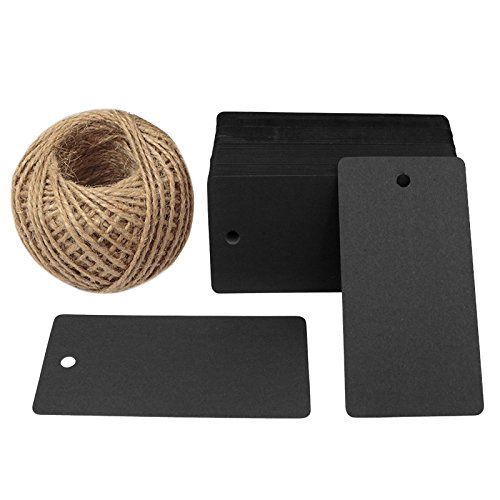 Christmas Gift Hang Tags - Black Gift Tags, G2PLUS 100 PCS Paper Gift Tag with 100 Feet Jute Twine String, Rectangle Christmas Gift Tags 3.5'' x 1.7'' (Black)