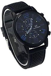 ZPS(TM) New Mens Stainless Steel Luxury Sport Analog Quartz Clock Wrist Watch Blue