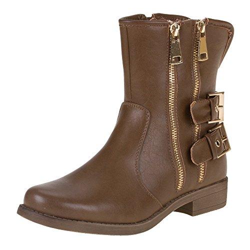 Ital-Design - Botas de material sintético para mujer marrón - Hellbraun ZH19