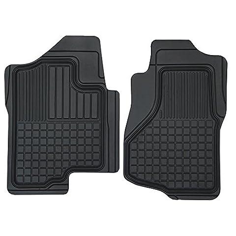 Motor Trend FlexTough Custom Liners Heavy Duty Rubber Floor Mats for Chevrolet Silverado 2007-2014 (2 Piece)