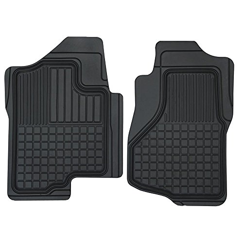 (Motor Trend MT-152-BK Black FlexTough Custom Liners Heavy Duty Rubber Floor Mats for Chevrolet Silverado 2007-2014 (2 Piece))