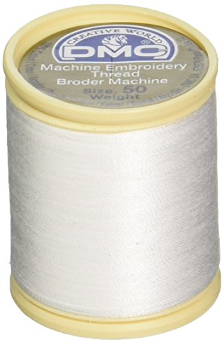 DMC 237A-50WHITE Cotton Embroidery Thread 50WT 547Yds White 50wt Cotton Machine Embroidery Thread