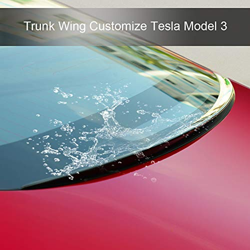 Trunk Wing Spoiler for Tesla Model 3 Water Retaining Wing lid kit Boot Spoilers Factory,Trunk Roof Waterproof Wing fit Model 3 2017 2018 2019 (Gloss Black)